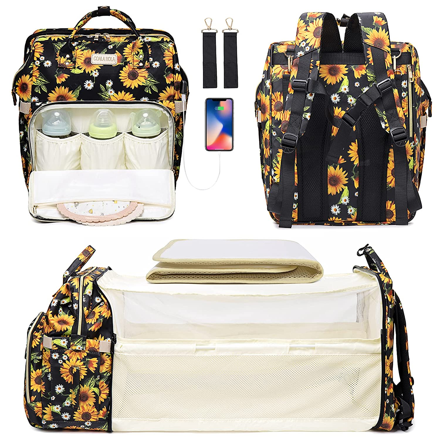Diaper Bag Backpack with Porable Bassinet Bed, Sunflower Diaper Bag for Newborn Essentials, Baby Travel Back Pack with Chaning Station Pad, Stroller Straps, Built-in USB Charging Port & Net Sunshade