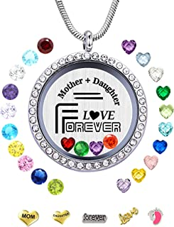 beffy Gifts for Mother & Daughter, Floating Living Memory Locket Necklace Pendant with Charms & Birthstones for Women, Girls