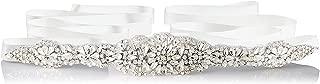 Bridal Crystal Rhinestone Wedding Dress Sash Belt With Ribbon