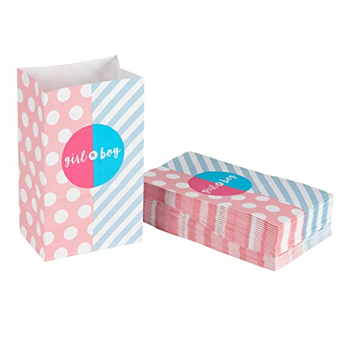 Party Treat Bags - 36-Pack Gift Bags, Gender Reveal Party Supplies, Paper Favor Goody Bags for Baby Shower, Recyclable Treat Bags - 5.2 x 8.7 x 3.3 inches, Pink and Blue