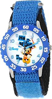 Disney Kids' W000976 Mickey Mouse Time Teacher Watch With Blue Nylon Strap