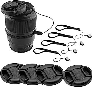 CamKix Lens Cap Bundle - 4 Snap-on Lens Caps for DSLR Cameras including Nikon, Canon, Sony - 4 Lens Cap Keepers / 1 CamKix...