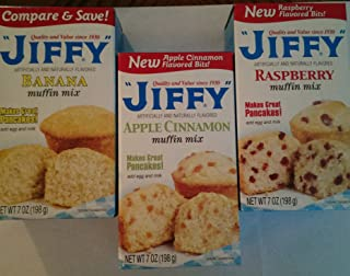 Jiffy Muffin Mix: 1 Banana, 1 Apple Cinnamon, 1 Raspberry, 7oz Boxes