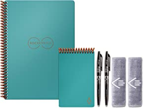 Rocketbook Everlast نوت بوک اجرایی و مینی بی سیم با 2 قلم خلبان FriXion و 2 پارچه میکرو فیبر ، نپتون Teal (EVR EM K CCE)