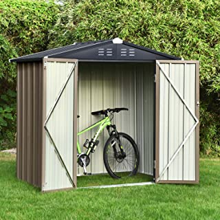 Backyard 6x4 Storage Sheds, Galvanized Steel Outdoor Storage Shed with Air Vent and Lockable Door, Gable Roof Patio Storag...