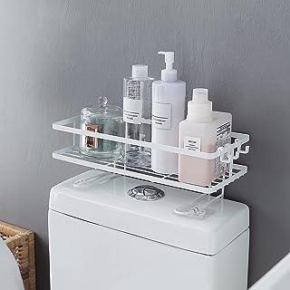 TillBio Over The Toilet Storage Rack, Bathroom Organizer with 3 Hooks, Spacesaver &No Installation Necessary(White)