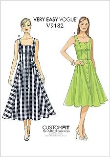 Vogue Patterns V9182A50 Misses' Button-Down, Flared-Skirt Dresses, 6-8-10-12-14, Red