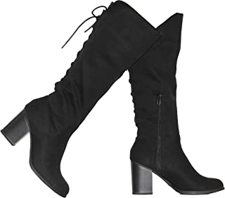 Shoes Women's Soda Mid-Calf Dress Boots with Back Laces