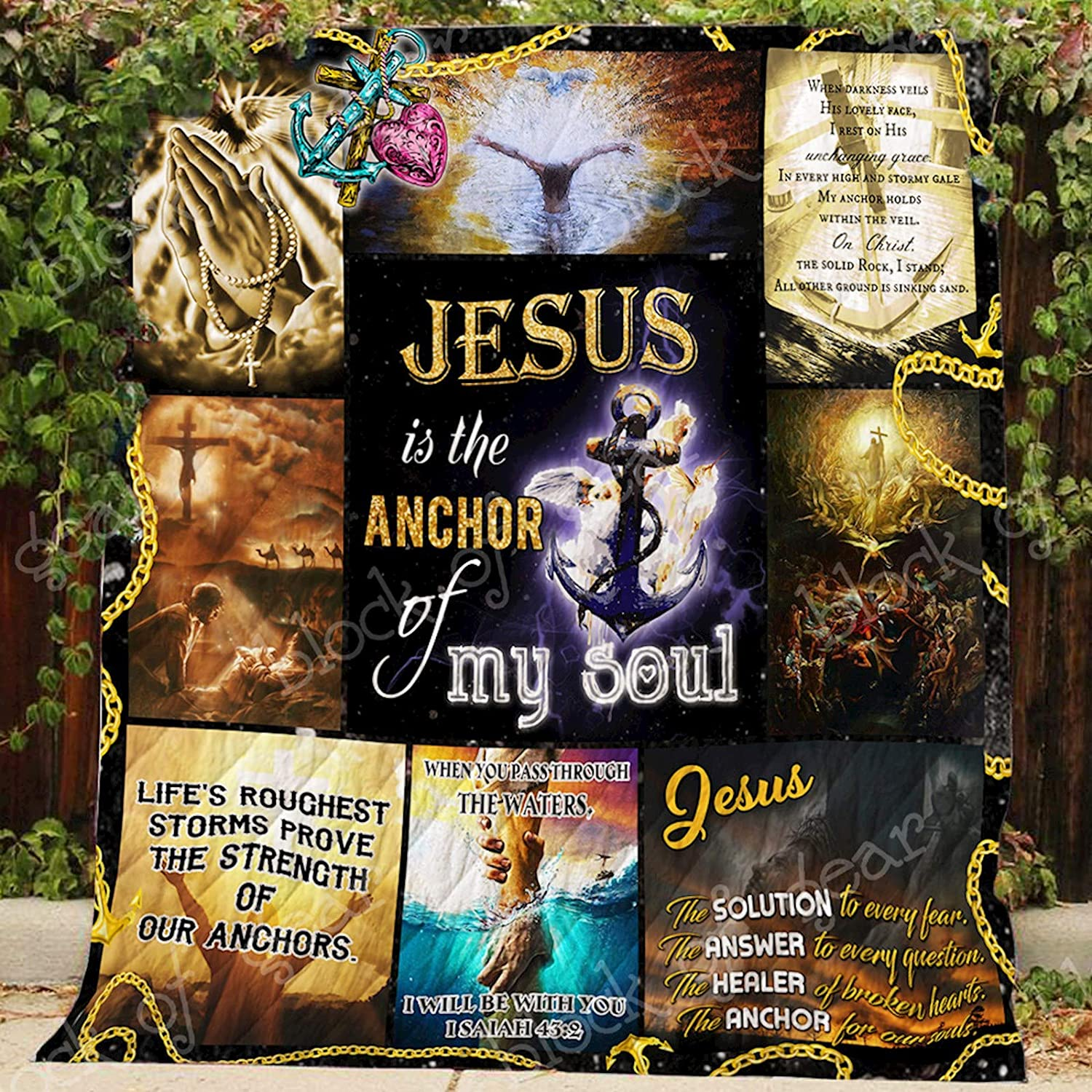 Jesus is My Anchor Quilt P409, Queen All-Season Quilts Comforters with Reversible Cotton King Queen Twin Size - Best Decorative Quilts-Unique Quilted for Gifts