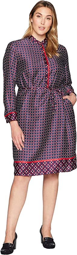 Plus Size Print Twill Shirtdress