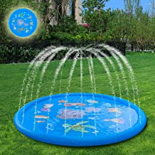 AMASKY Splash Pad- 68 inches Splash Mat, Outdoor Water Play Sprinklers Summer Toys Fun for Infants Toddlers and Kids in Backyard Playing (Blue)