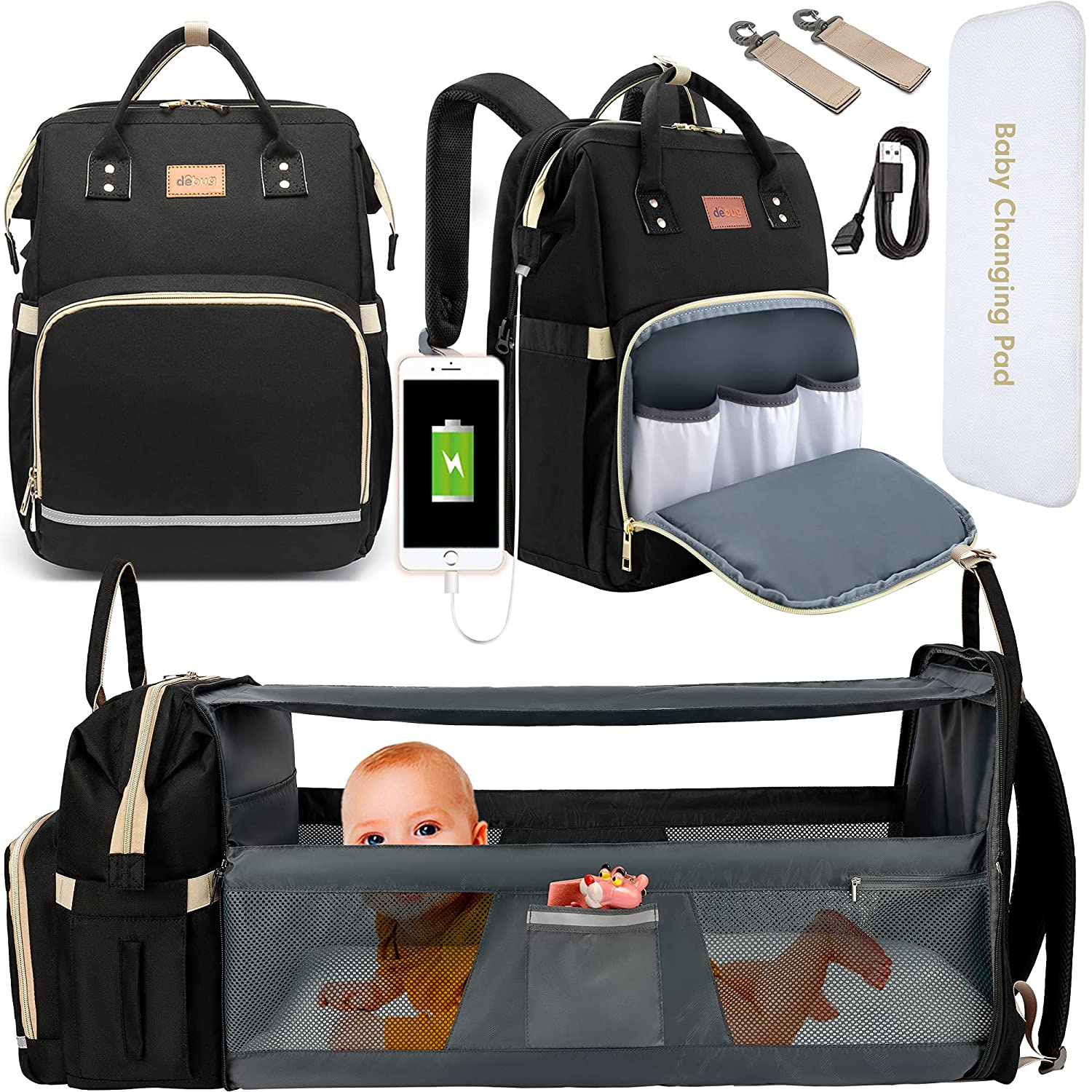 DEBUG Baby Diaper Bag Backpack with Changing Station Baby Bags for Boys Girl, Baby Registry Search Shower Gifts for Girls New Mom Gifts for Women, Travel Waterproof Bookbag with Stroller Straps Black