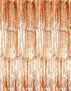 GOER 3.2 ft x 9.8 ft Metallic Tinsel Foil Fringe Curtains for Party Photo Backdrop Wedding Decor (2 Packs,Champagne Gold)