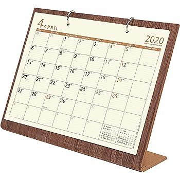 オーブ 2020年 カレンダー 4月始まり 卓上 シンプルウッド L ブラウン WDS-900BR
