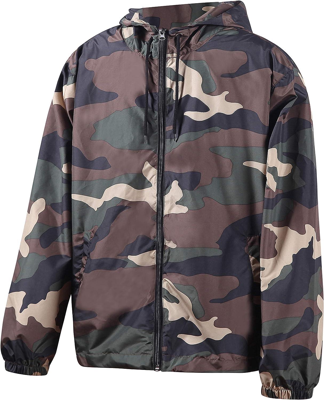 Beautiful Giant Men/'s Hooded Front Zip Lightweight Windbreaker Outwear Jacket