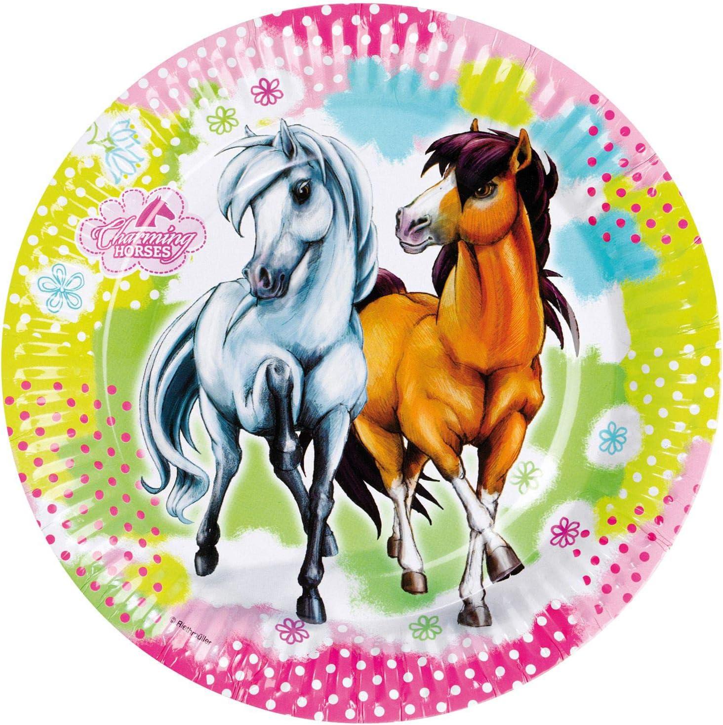 amscan falksson RM552341 Charming Horses - Plato de cartón (8 Unidades), diseño de Caballos
