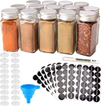 MONICA 14 Glass Spice Jars with w/2 Types of Spice Labels.4oz Empty Square Spice Bottles,Three Kinds of Shaker Lids and Ai...
