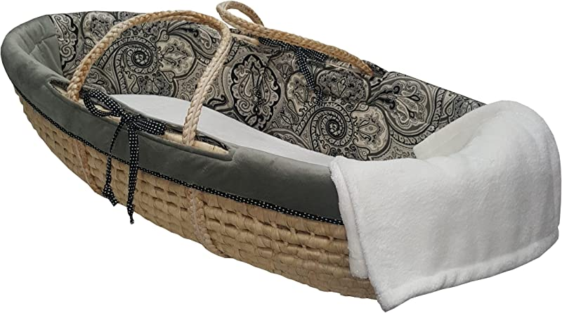 Cotton Tale Designs 100 Cotton Black Cream Gray Paisley And Grey Velvet With Polka Dots Neutral Moses Basket