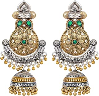 a63077c0c Peora Indian Traditional Designer Dual Tone Oxidised Plating Emerald Color  Stone Jhumka Jhumki Earrings for Women
