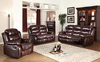 GTU Furniture Motion Reclining Sofa Loveseat Recliner Living Room Pu Leather Pillow Top Backrest and Armrests Couch Set (Sofa, Loveseat and Recliner Chair, Brown)
