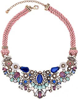 Women's Tribal Ethnic Crystal Mix-Shape Beaded Cluster Statement Necklace Multicolor Antique-Gold-Tone