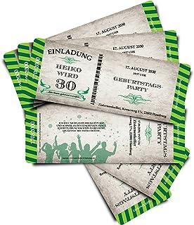 60 Geburtstagskarten Geburtstagseinladungen Einladungskarten  Stripes  - grün - - - Ticket Eintrittskarte mit Abriss-Coupon B076GS8477  Moderne und stilvolle Mode 90f5ca