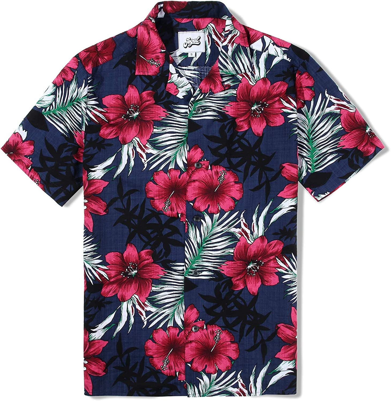 JOGAL Men's Floral Cotton Tropical Hawaiian Shirt
