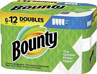 حوله های کاغذی با اندازه انتخابی Bounty ، سفید ، 6 عدد دو رول = 12 عدد رول معمولی ، Prime Pantry