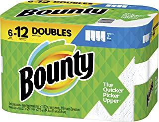 Bounty Select-A-Size Paper Towels, White, 6 Double Rolls = 12 Regular Rolls, Prime Pantry..