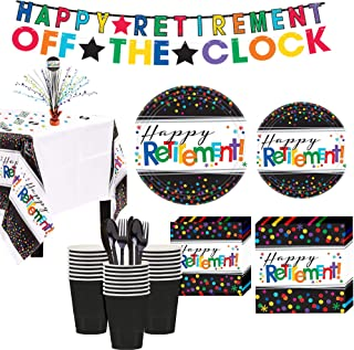 Party City Happy Retirement Celebration Party Kit for 32 Guests, 309 Pieces, Includes Tableware, Decor, and Confetti