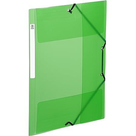Viquel - Chemise plastique à élastiques avec 3 rabats et étiquette d'identification sur la tranche - Fabriqué en France - Format A4 - Vert translucide