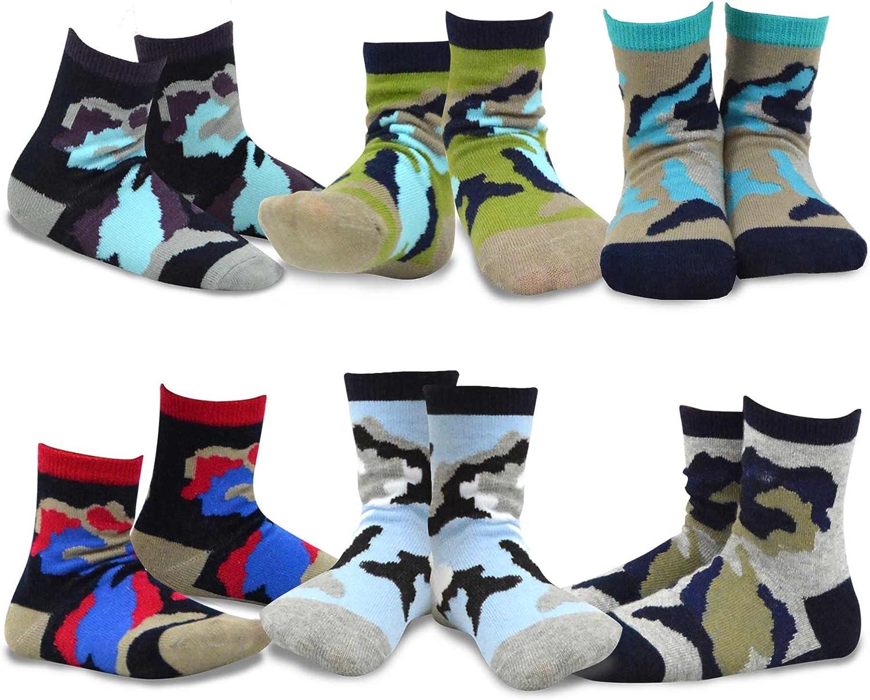 TeeHee Little Boys Cotton Fashion Fun Crew Socks 6 Pair Pack (3-