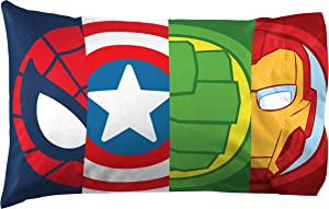 Marvel Super Hero Adventures Double Team 1 Pack Pillowcase - Double-Sided Kids Super Soft Bedding - Features The Avengers (Official Marvel Product)