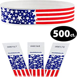 "Tyvek Wristbands - Goldistock Star Burst USA Patriotic Flag 500 Count - ¾"" Arm Bands - Paper-Like Party Armbands - Red, White & Blue - American-Made Wrist Bands for Your Special Event"