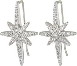 Blue by Betsey Johnson Silver Tone Earrings Climbers with Pave Crystal Accented Starburst