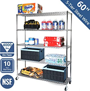 Seville Classics SHE18603B UltraDurable Commercial-Grade 5-Tier NSF-Certified Steel Wire Shelving with Wheels, 60