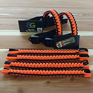 Paracord Jeep Wrangler Grab Handles - Black & Neon Orange - Pick your pairs