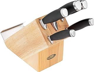 Stellar James Martin IJ60 - Juego de cuchillos de cocina (madera con cuchillos, 5 piezas, acero inoxidable de carbono de alta calidad, cuchillas afiladas, mangos antideslizantes)