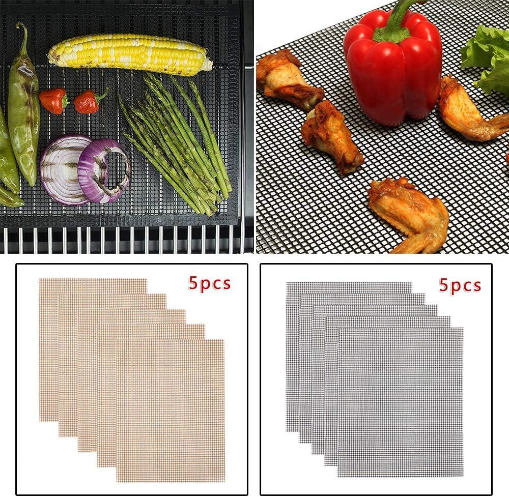 yitan Tapis de Cuisson Tapis Barbecue 5Pcs Set Fibreglass BBQ Grill Mesh Anti-Stick Mat Réutilisable Sheet Barbecue Viande Tapis Grill de Maille Non Toxique Noir Noir
