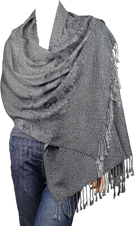 Falari Women's Woven Reversible Pashmina Shawl Wrap Scarf 80