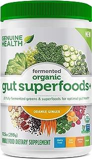 Genuine Health Fermented Organic Gut Superfoods+, Orange Ginger, Vegan Superfoods Powder, Prebiotics, Digestive Support, Gluten Free, Non-GMO, 10.5oz Tub