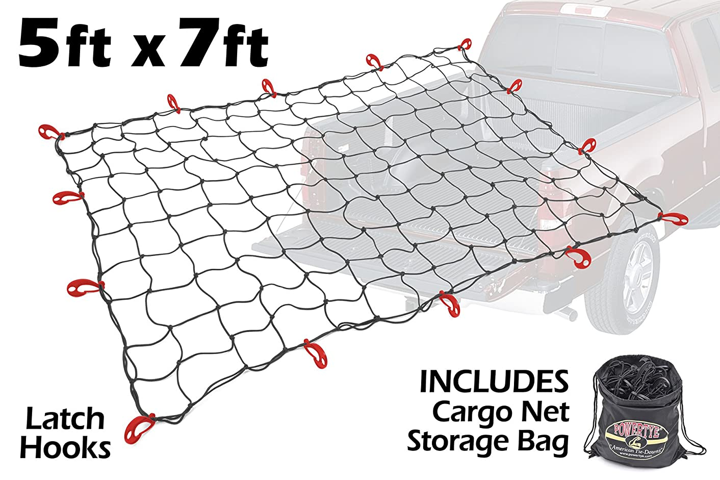5ft x 7ft PowerTye Mfg Truck & Trailer Large Elastic Black Cargo Net With Drawstring Storage Bag | Includes 14 Large Latch Hooks, Black w/Bag