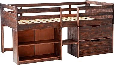 DONCO Kids Twin Size Rustic Oak LOW LOFT,