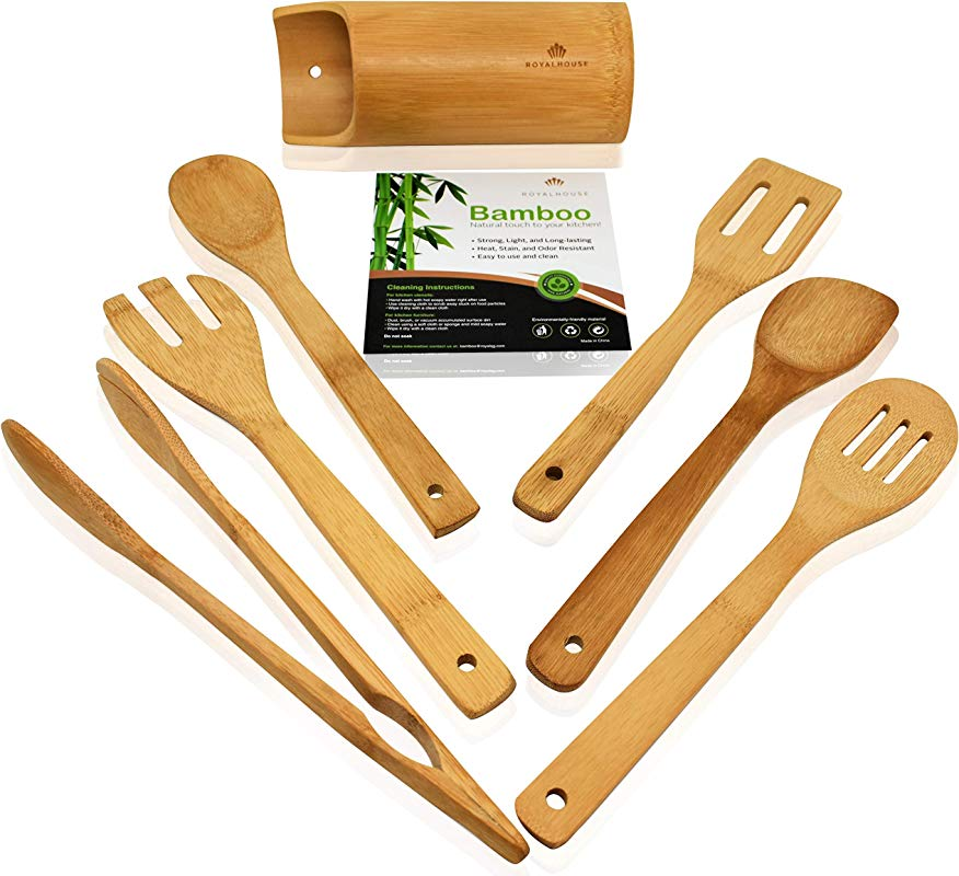 Wooden Kitchen Utensils Set 7 Piece Bamboo Cooking Tools And Holder Cooking Spoons And Spatulas Kitchen Tools Wood Tool Utensil Sets For Nonstick Pan And Cookware