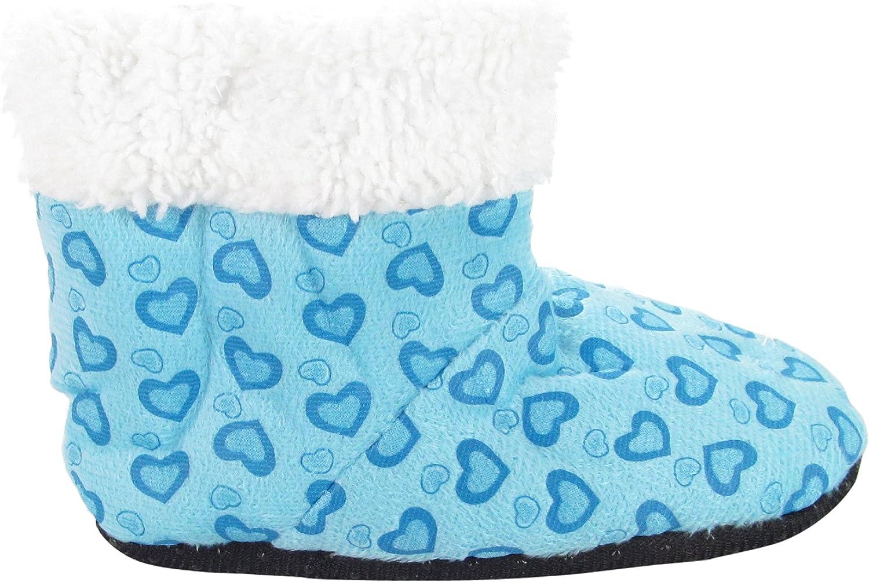 J.Ann Toddlers Little Girls (2T4T) Fleece Sherpa Printed Slipper Booties, Non Slip
