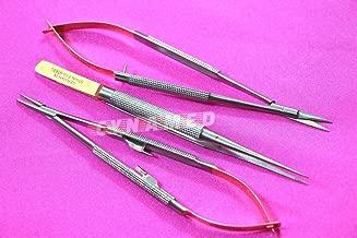 Premium German Stainless Set of 3 Castroviejo Micro Scissors Needle Holder Straight Plus Micro Forceps Dental Eye Instruments