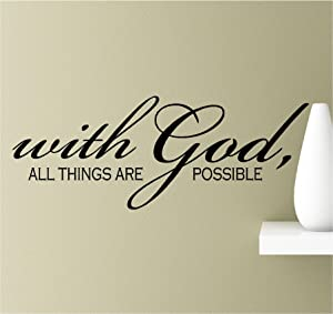 with God All Things are Possible Vinyl Wall Art Inspirational Quotes Decal Sticker