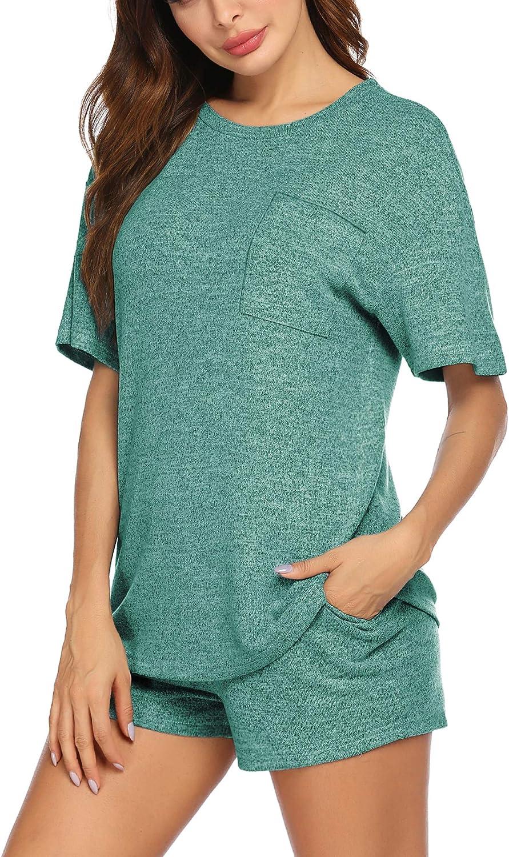Beyove Womens Pajama Set Short Sleeve Shorts Sleepwear Nightwear Round Neck Soft Two-Piece Pj Set for Women(S-XXL)