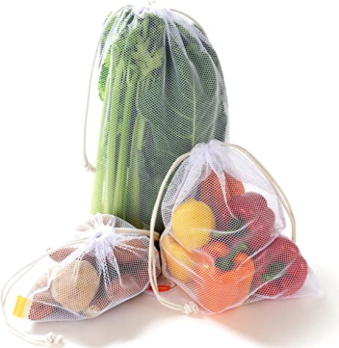 NZ Home Zero Waste Reusable Produce Bags | Drawstring | Multiple Sizes in White | Extra Strong, Washable, See Through with Tare Weight Labels | Set of 5 (Double Drawstrings) product image