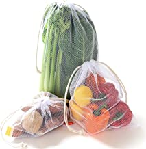 NZ Home Zero Waste Reusable Produce Bags | Drawstring | Multiple Sizes in White | Extra Strong, Washable, See Through with...